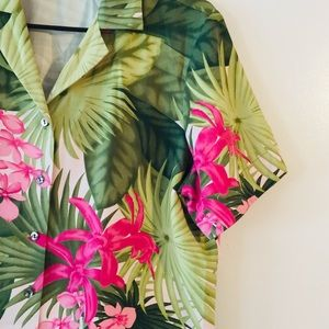 Tommy Bahama Silk Camp Shirt Orchid Print Sz L